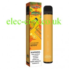 image shows the box and the actual Fizzy Fenta 800 Puff Disposable E-Cigarette by Amazonia