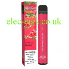 image shows the box and the actual Fresh Watermelon 800 Puff Disposable E-Cigarette by Amazonia