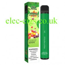 image shows the box and the actual Fruit Pistols 800 Puff Disposable E-Cigarette by Amazonia