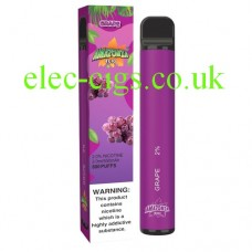 Image shows a box with the actual Grape 800 Puff Disposable E-Cigarette by Amazonia