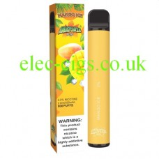image shows a box and the actual Mango Ice 800 Puff Disposable E-Cigarette by Amazonia