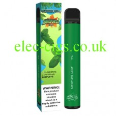 image shows a box and the actual Menthol Mint 800 Puff Disposable E-Cigarette by Amazonia