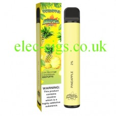 image shows a box and the actual Pineapple 800 Puff Disposable E-Cigarette by Amazonia