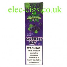 Image shows packaging Amazonia Disposable E-Cigarette Blueberry Mint