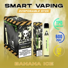 Image shows the boxes and actual stix of Area 51 600 Puff Disposable E-Cigarette Stix Banana Ice