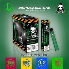 Image shows boxes and actual stix of Area 51 600 Puff Disposable E-Cigarette Stix Double Menthol