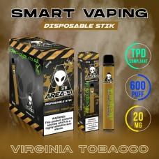 Image shows boxes and actual stix of Area 51 600 Puff Disposable E-Cigarette Stix Virginia Tobacco