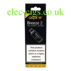 Image shows a 5 pack of Aspire Coils for the Aspire Breeze 2 System