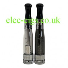 showing the clear and the black colours of the Aspire BVC Clearomizer 1.8 ohm (3.0-5.0V)