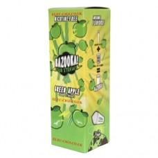 Image is of the box containing the Bazooka Sour Straws 100 ML Green Apple E-Liquid