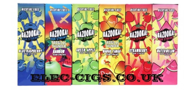 Image shows 6 of the 7 available flavours in the Bazooka Sour Straws 100 ML E-Liquids Range