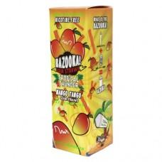 Image is of the box containing the Bazooka Sour Straws 100 ML Tropical Thunder Mango Tango E-Liquid