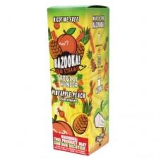 Image is of the box containing the Bazooka Sour Straws 100 ML Tropical Thunder Pineapple Peach  E-Liquid