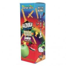 Image is of the box containing the Bazooka Sour Straws 100 ML Tropical Thunder Rainbow E-Liquid