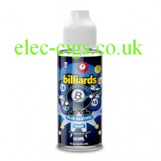 image shows a bottle of Billiards 100ML E-Liquid Blue Menthol