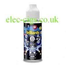 image shows a bottle of Billiards 100ML E-Liquid Blueberry