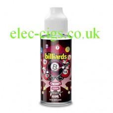 image shows a bottle of Billiards 100ML E-Liquid Cherry