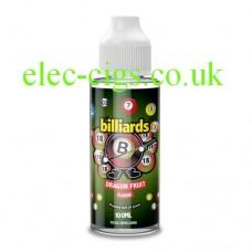 image shows a bottle of Billiards 100ML E-Liquid Dragon Fruit