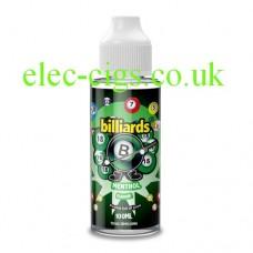 image shows a bottle of Billiards 100ML E-Liquid Menthol