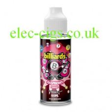 image shows  a bottle of Billiards 100ML E-Liquid Raspberry