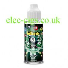 image shows  a bottle of Billiards 100ML E-Liquid Spearmint