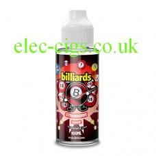 Image shows a bottle of Billiards 100ML E-Liquid Strawberry