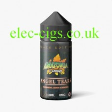 Image shows black bottle with black label containing Black Edition Angel Tears 100 ML E-Liquid by Amazonia