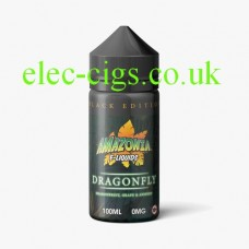 image shows a bottle of Black Edition Dragonfly 100 ML E-Liquid by Amazonia