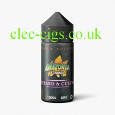 image shows a bottle of Black Edition Rhubarb & Custard 100 ML E-Liquid by Amazonia