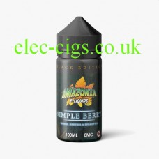 image shows a bottle of Black Edition Simple Berry 100 ML E-Liquid by Amazonia