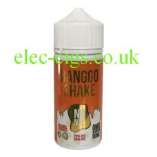 image shows a white plastic bottle with a green label containing Banggo Shake 80 ML E-Liquid Milkshake Range by Black Mvrket