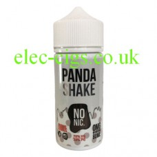 image shows a white plastic bottle with a green label containing Panda Shake 80 ML E-Liquid Milkshake Range by Black Mvrket
