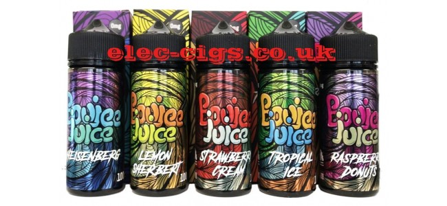 Image shows several of the flavours available in the Boujee Juice 100 ML E-Liquids range