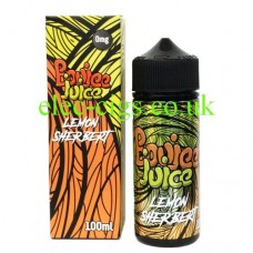 Image is of a box and bottle of Lemon Sherbet 100 ML E-Liquid by Boujee Juice