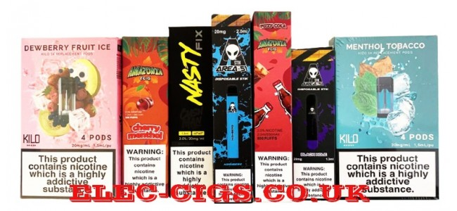 Just a few of the disposable e-cigarettess we have in stock