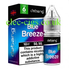 Image of the box and bottle containing Blue Breeze UK Made E-Liquid from Debang