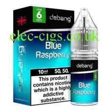 Image shows the bottle and box of Blue Raspberry UK Made E-Liquid from Debang