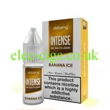 Image shows the box and bottle of Debang Intense Nicotine Salt E-Liquid Banana Ice