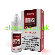 image shows a bottle and box of Debang Intense Nicotine Salt E-Liquid Fizzy Cola