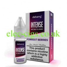 image shows a bottle and box of Debang Intense Nicotine Salt E-Liquid Forest Berries