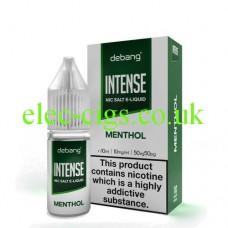 image shows a bottle and box of Debang Intense Nicotine Salt E-Liquid Menthol
