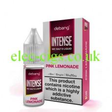 image shows a bottle and box of Debang Intense Nicotine Salt E-Liquid Pink Lemonade