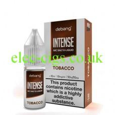 image shows a bottle and box of Debang Intense Nicotine Salt E-Liquid Tobacco