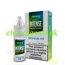image shows a bottle and box of Debang Intense Nicotine Salt E-Liquid Tropical ice