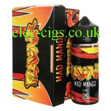 Showing the bottle together with box of Mad Mango 100 MLE-Liquid by Flavair
