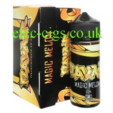 Image shows the box and bottle containing the Magic Melon 100 MLE-Liquid by Flavair