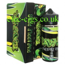 Images shows the box and bottle of Pineapple Peng 100 MLE-Liquid by Flavair