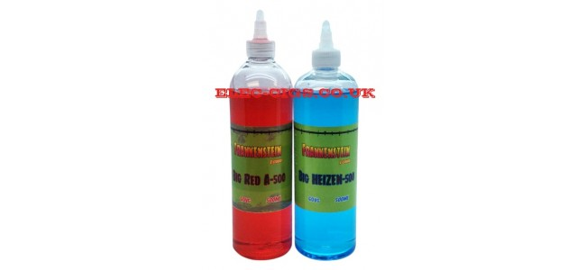 Image shows the two bottle of Frankenstein 500 ML E-Liquids one red and one blue