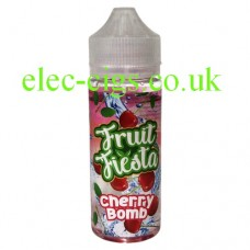 Image shows a bottle of Cherry Bomb 100 ML E-liquid from Fruit Fiesta