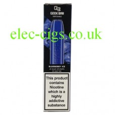 Image show the box containing the Geek Bar Disposable E-Cigarette Blueberry Ice